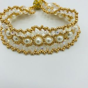"""Woven Lacey Crystal Bracelet 7"""""""